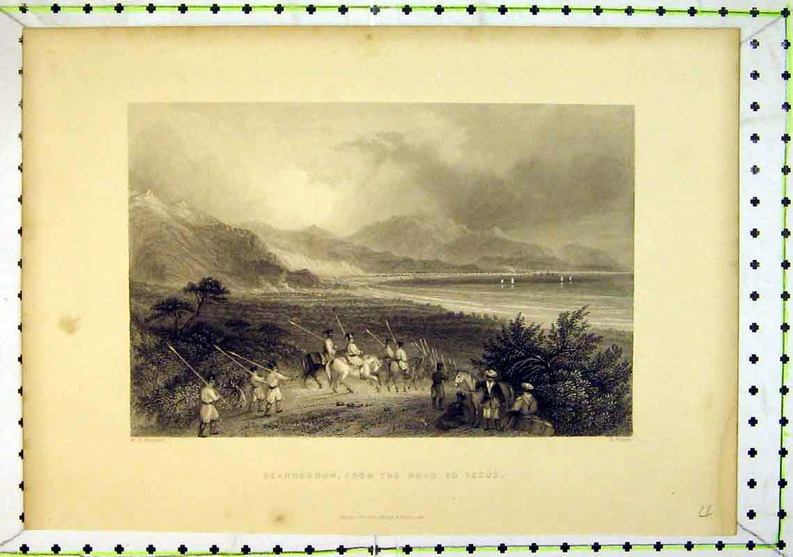 Print 1837 Scanderoon Road Issus Mountains Men Horses Sea 211B368 Old Original