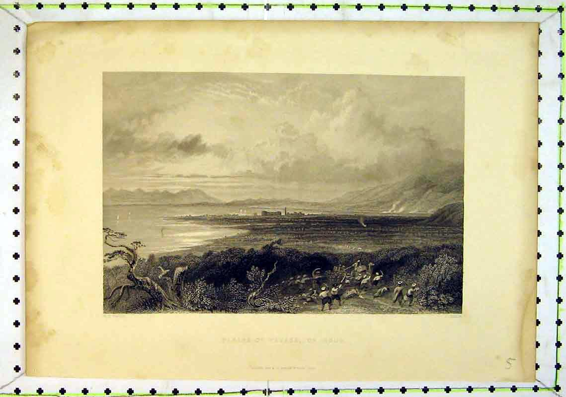 Print 1838 View Plains Payass Issus Mountains Sea War People 213B368 Old Original