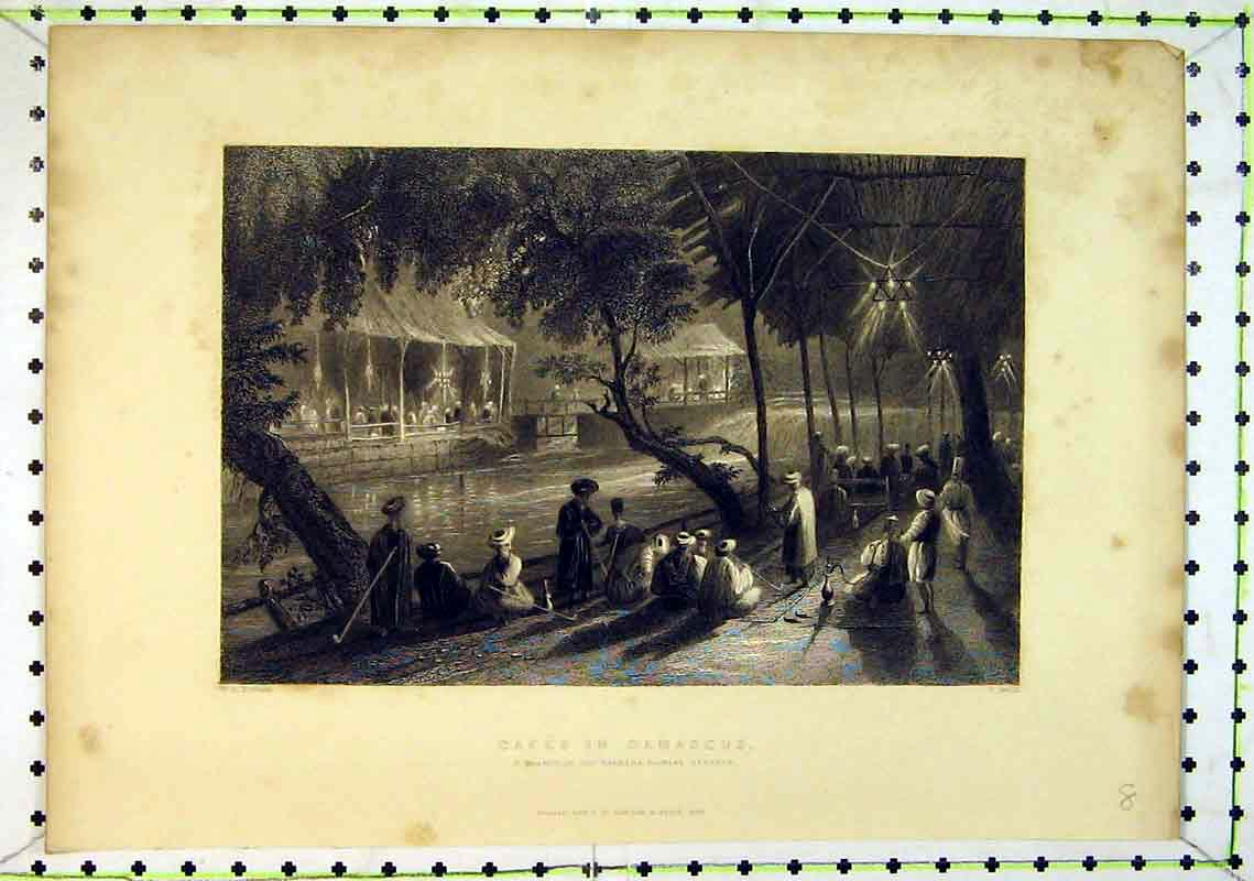 Print 1836 View Cafes Damascus Branch Barrada Flowing 216B368 Old Original