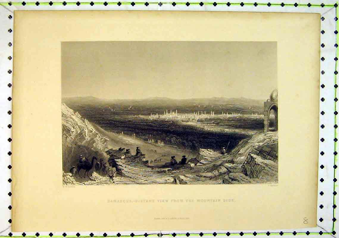 Print 1837 Damascus View Mountain Country Scene Bible 219B368 Old Original