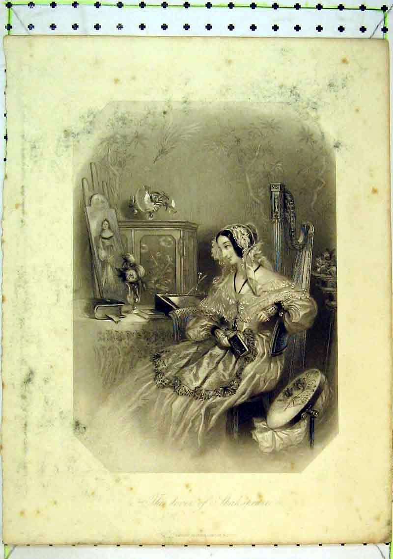 Print Lover Shakespeare Beautiful Woman Sitting Table 221B368 Old Original