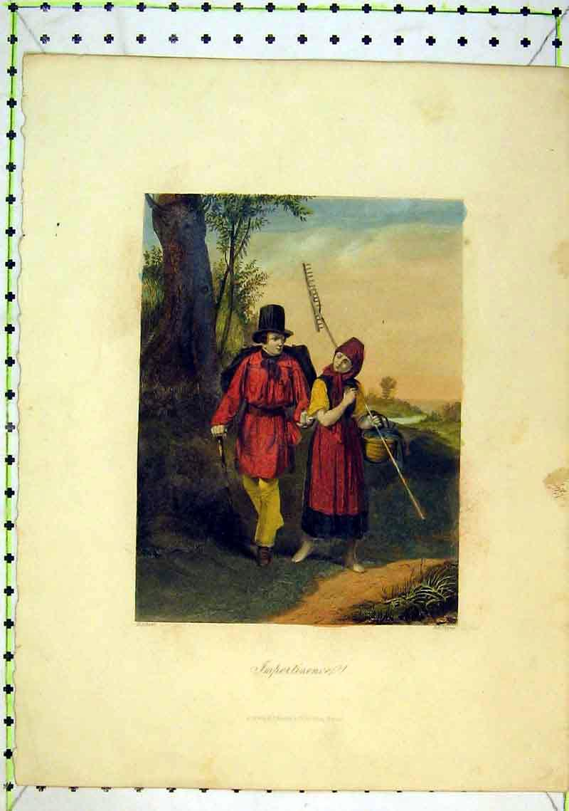 Print Colour Country Walk Romance Farmers Tree River 222B368 Old Original