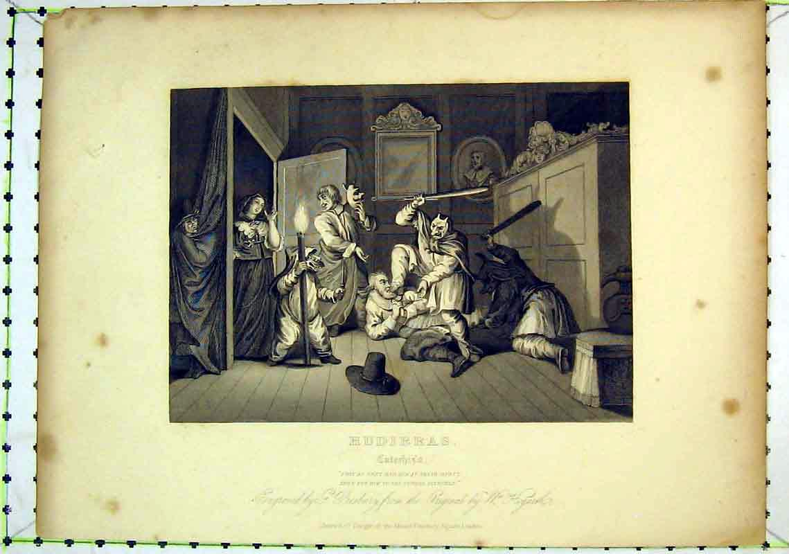 Print Scene Hudibras Men Acting Theatre Hogarth 223B368 Old Original