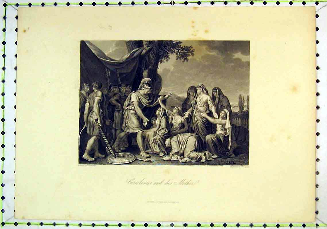 Print Scene Coriolanus Mother Roman People 225B368 Old Original