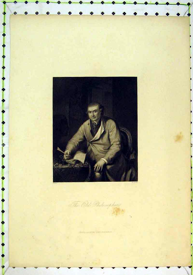 Print Portrait Philosopher Man Writing Book Jackson Cook 230B368 Old Original