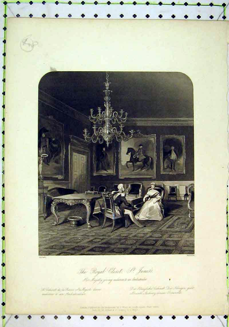 Print Interior View Royal Closet St James Palace Queen Man 232B368 Old Original
