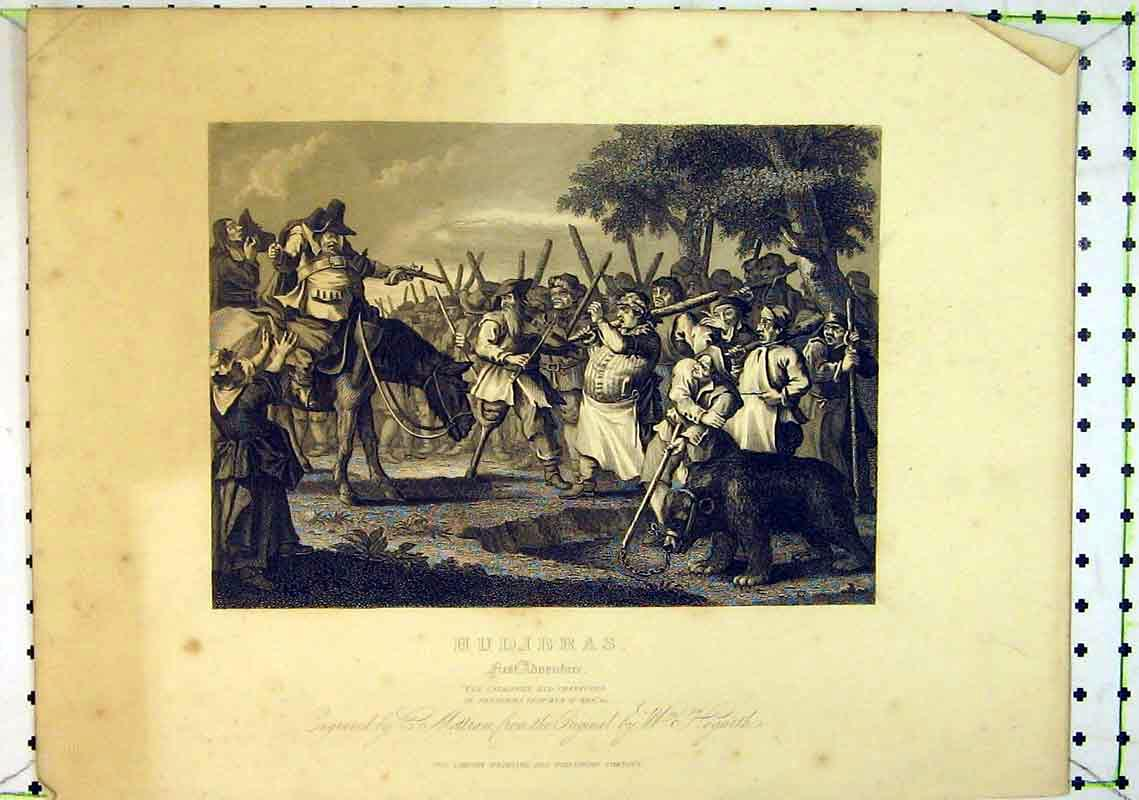Print Scene Hudibras First Adventure Country Battle Bear 234B368 Old Original