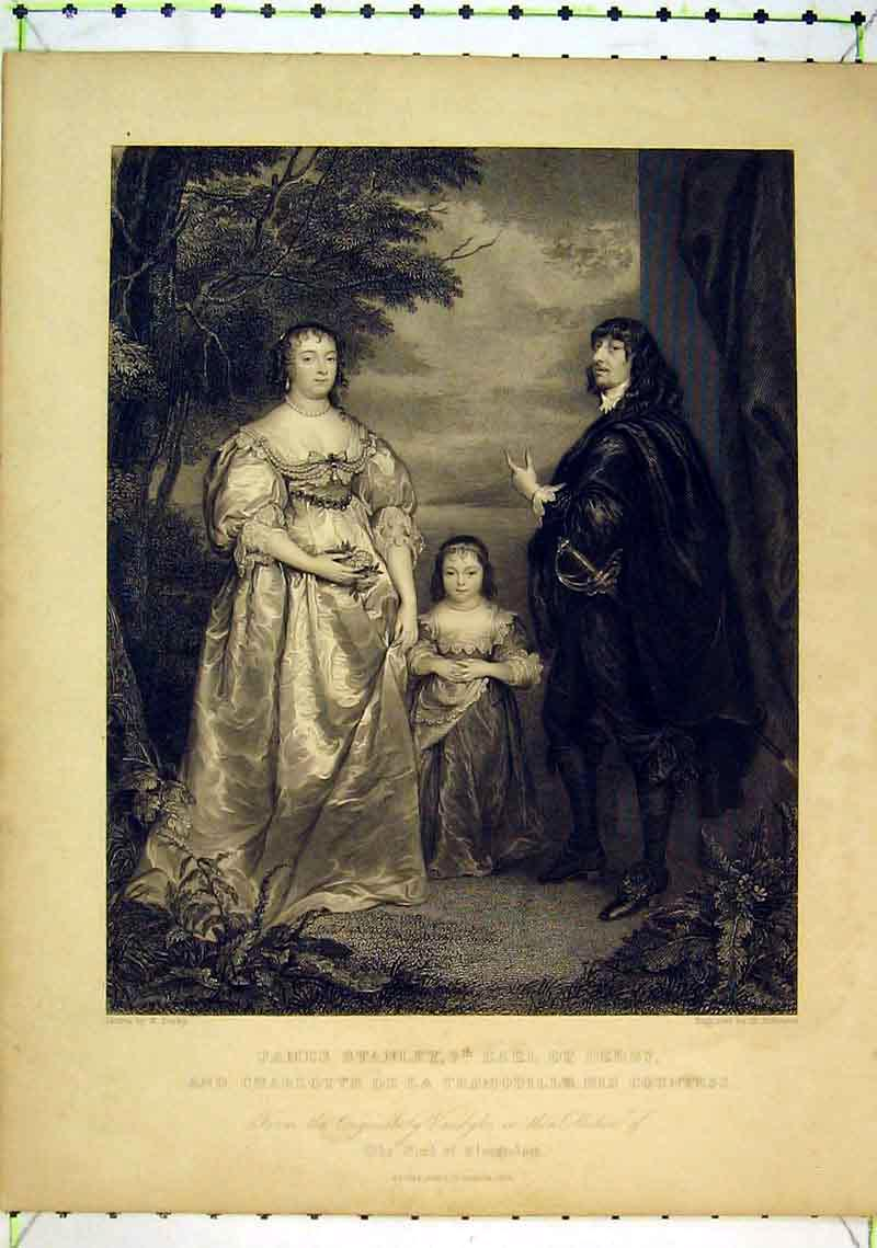 Print James Stanley Earl Derby Charlotte Tremouille Countess 236B368 Old Original