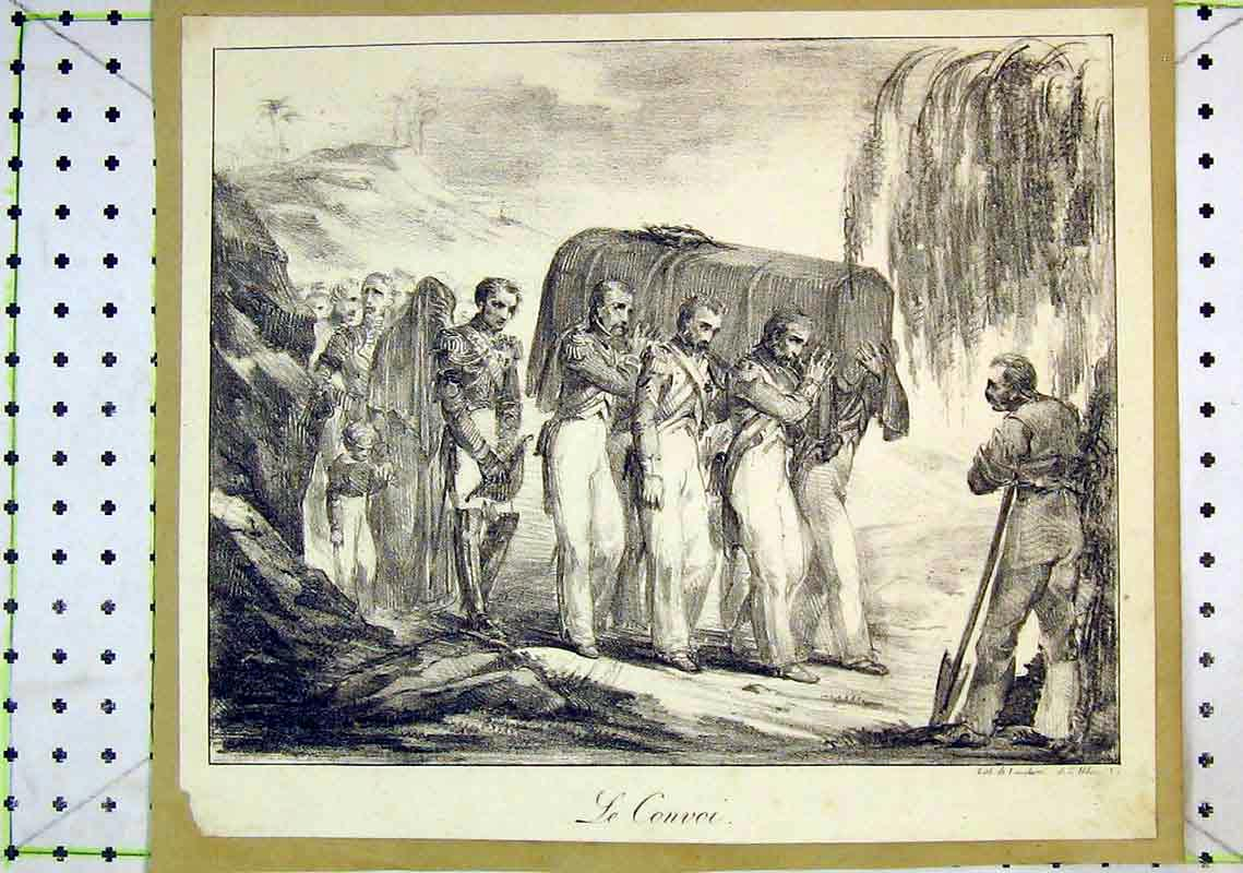 Print Soldiers Men Carrying Coffin Funeral 239B368 Old Original