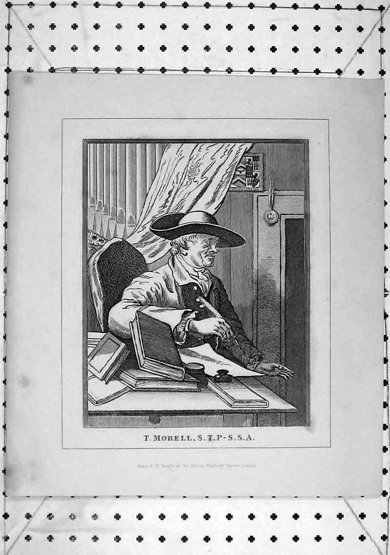 Print Portrait Morell Author Book Feather Quill 240B368 Old Original