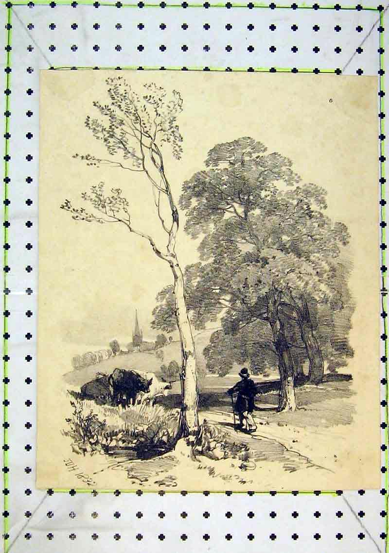 Print View Country Man Cows Walking Trees 242B368 Old Original