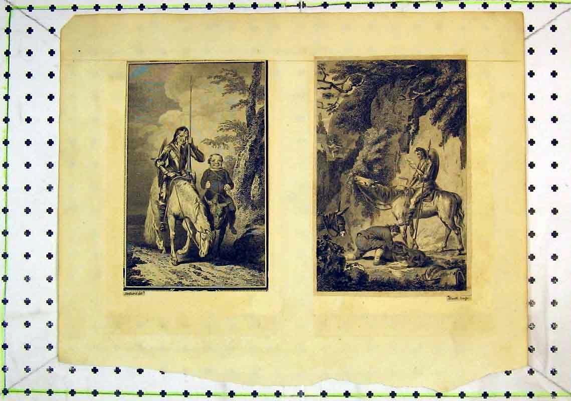 Print Man Horse Spear Cliffs Country Stothard 243B368 Old Original