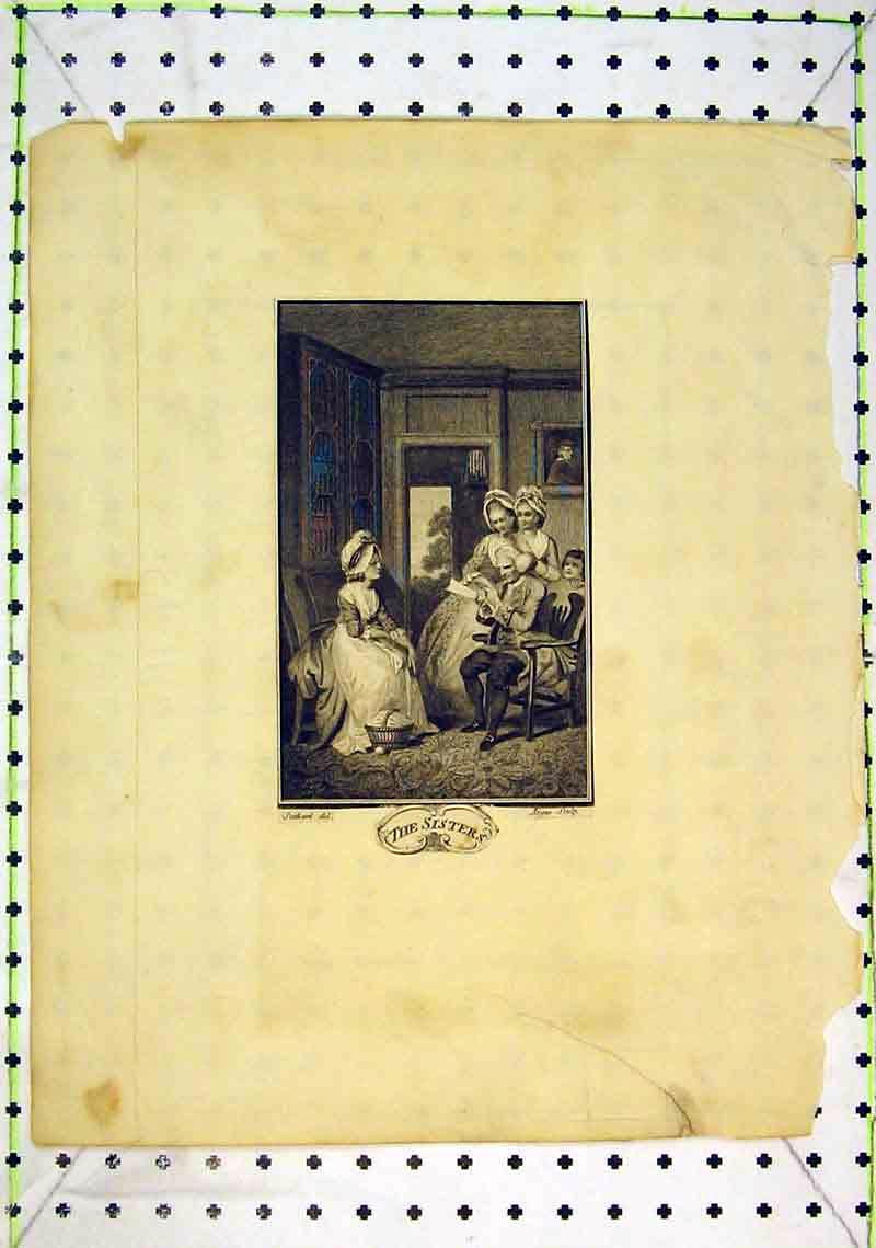 Print Interior House Family Sisters Women Man Reading Book 245B368 Old Original