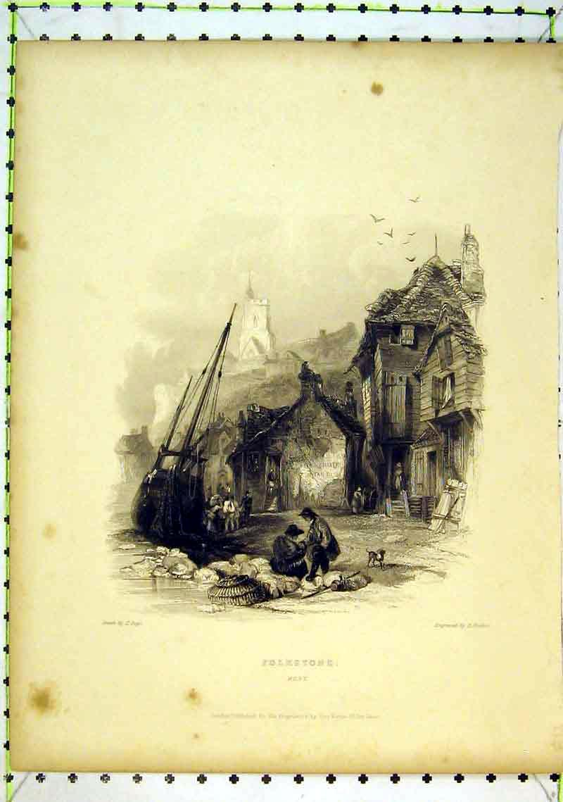 Print View Folkstone Kent Sailing Ship Fishing 260B368 Old Original