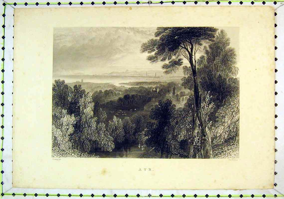 Print Country View Ayr Scotland Mountains Tree Houses 262B368 Old Original