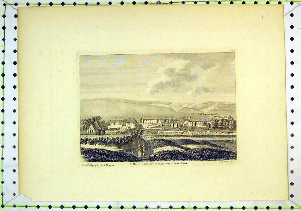 Print View St Martins Priory Church Dover Kent 1784 Hooper 265B368 Old Original