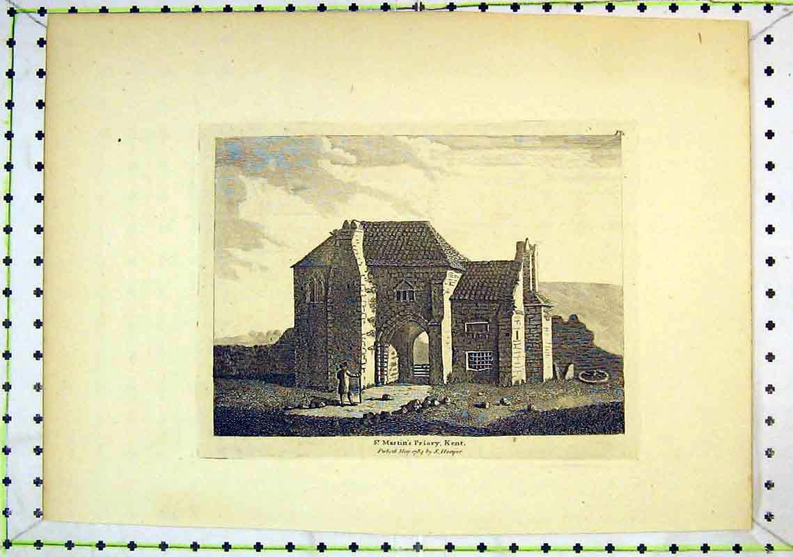 Print 1784 View St Martins Priory Church Kent Ruins Hooper 266B368 Old Original
