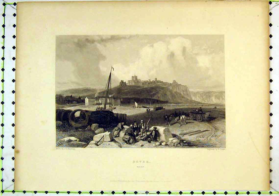 Print View Dover Kent Castle Cliff Sailing Boat Horse Cart 267B368 Old Original