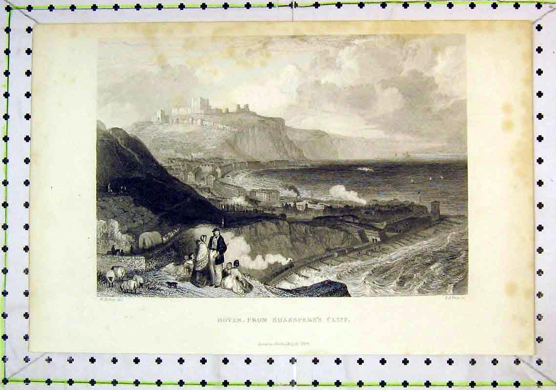 Print 1848 View Dover Castle Shakspeare Cliff England Sea 275B368 Old Original
