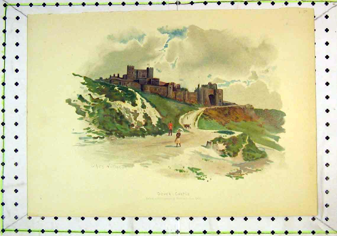 Print Colour View Dover Castle Soldier Woman Umbrella 277B368 Old Original