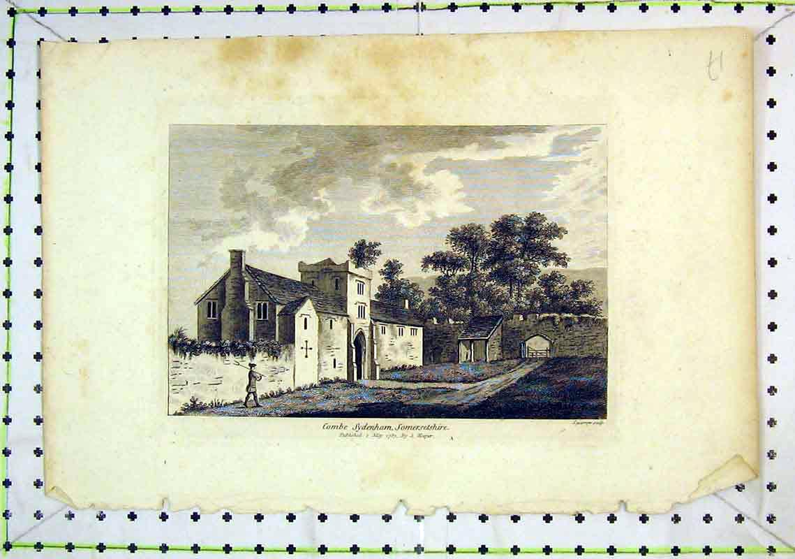 Print 1783 View Combe Sydenham Somersetshire House Hooper 280B368 Old Original