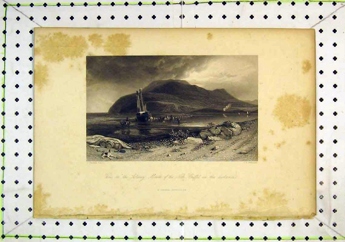Print View Solway Nith Griffel Mountain Sailing Ship Sea 287B368 Old Original