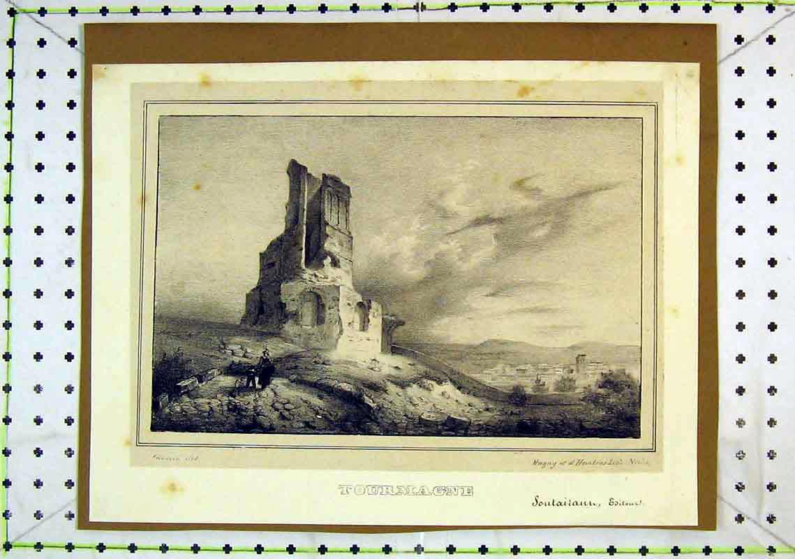 Print View Tourmagne Tower Ruins Country Scene 291B368 Old Original