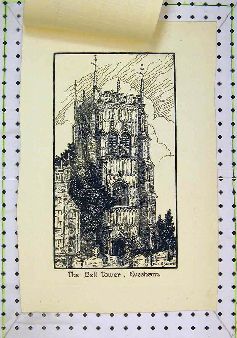 Print View Bell Tower Evesham England Clock 294B368 Old Original