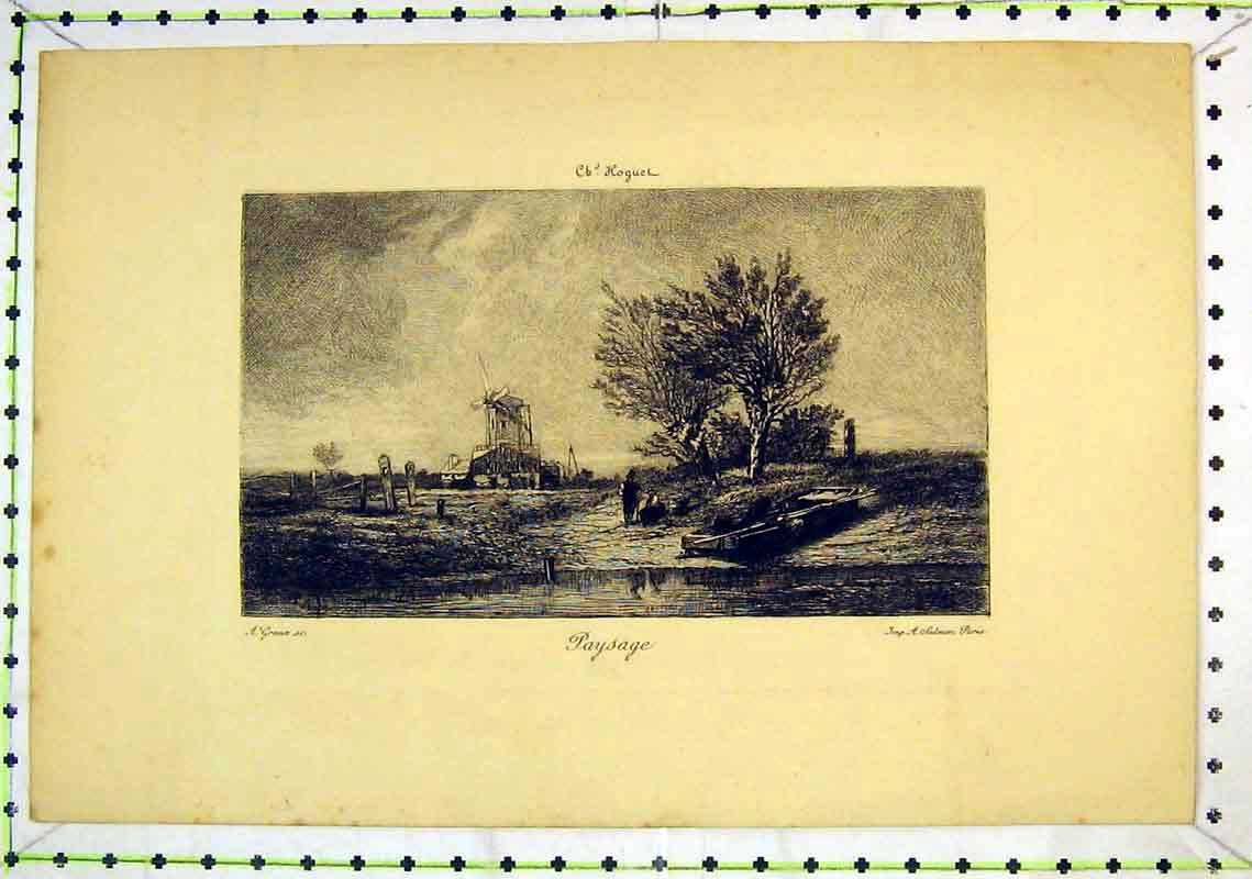 Print Country Scene Windmill Paysage Lake Trees Boat 307B368 Old Original