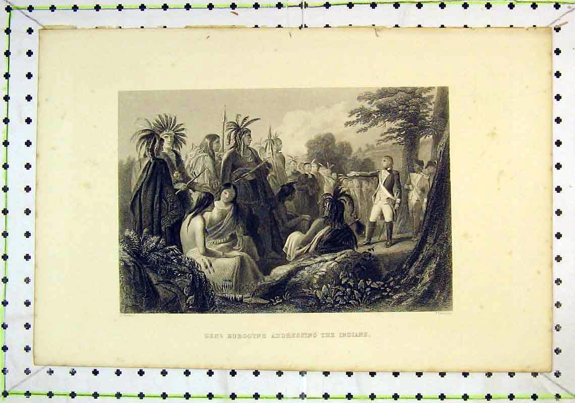 Print General Burgoyne Addressing Indians Soldier War 309B368 Old Original