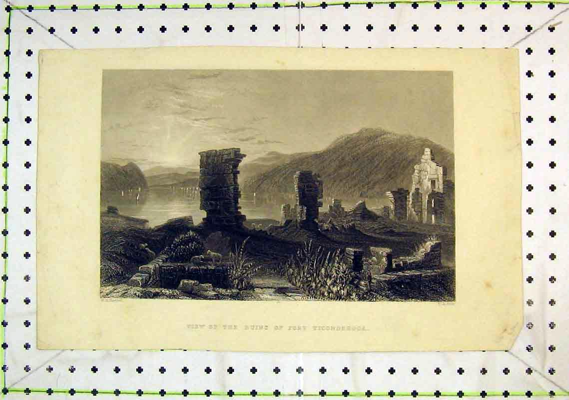 Print View Ruins Fort Ticonderoga Mountains River Boats 311B368 Old Original