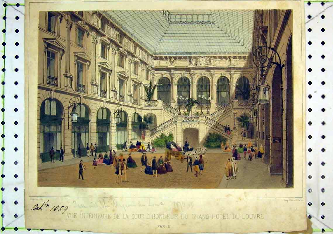 Print Colour Interior View Grand Hotel Louvre France 321B368 Old Original