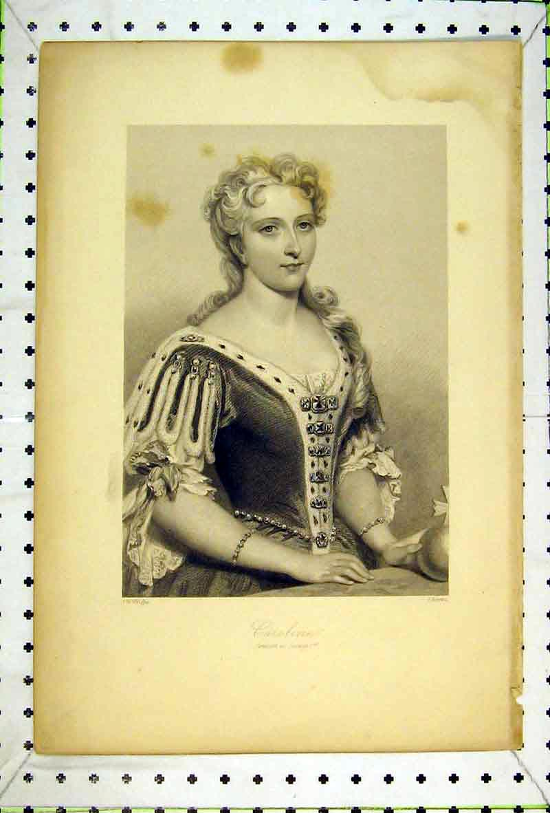 Print Portrait Caroline Beautiful Woman Lady 103B369 Old Original