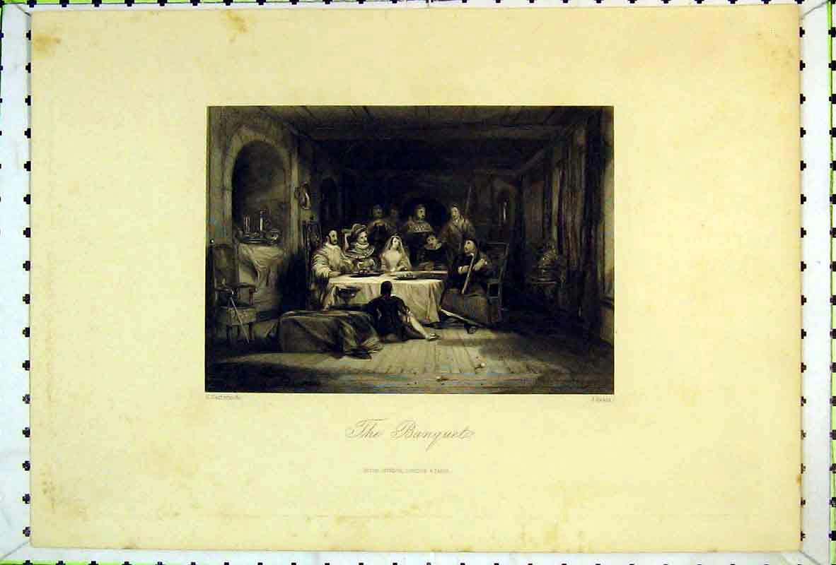 Print Interior View Banquet Family Eating Table 108B369 Old Original