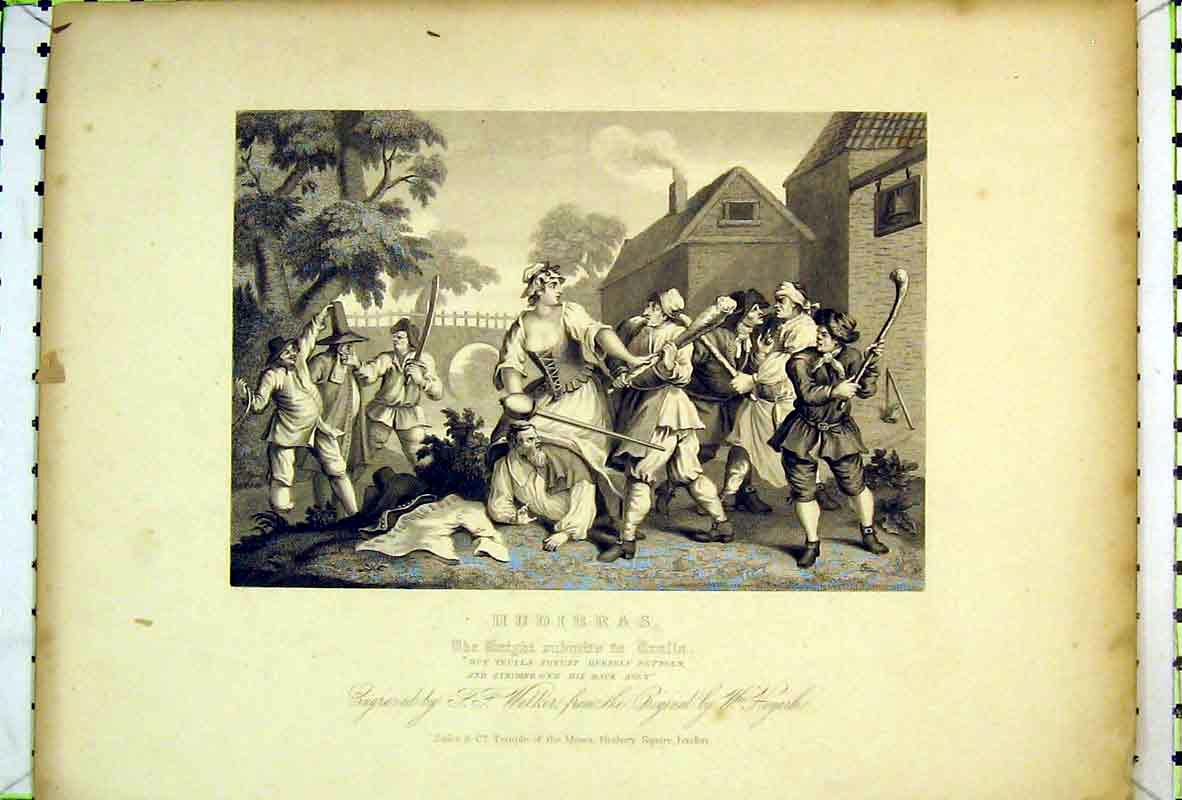 Print Hudibras Battle Fighting War Sword Stick 109B369 Old Original