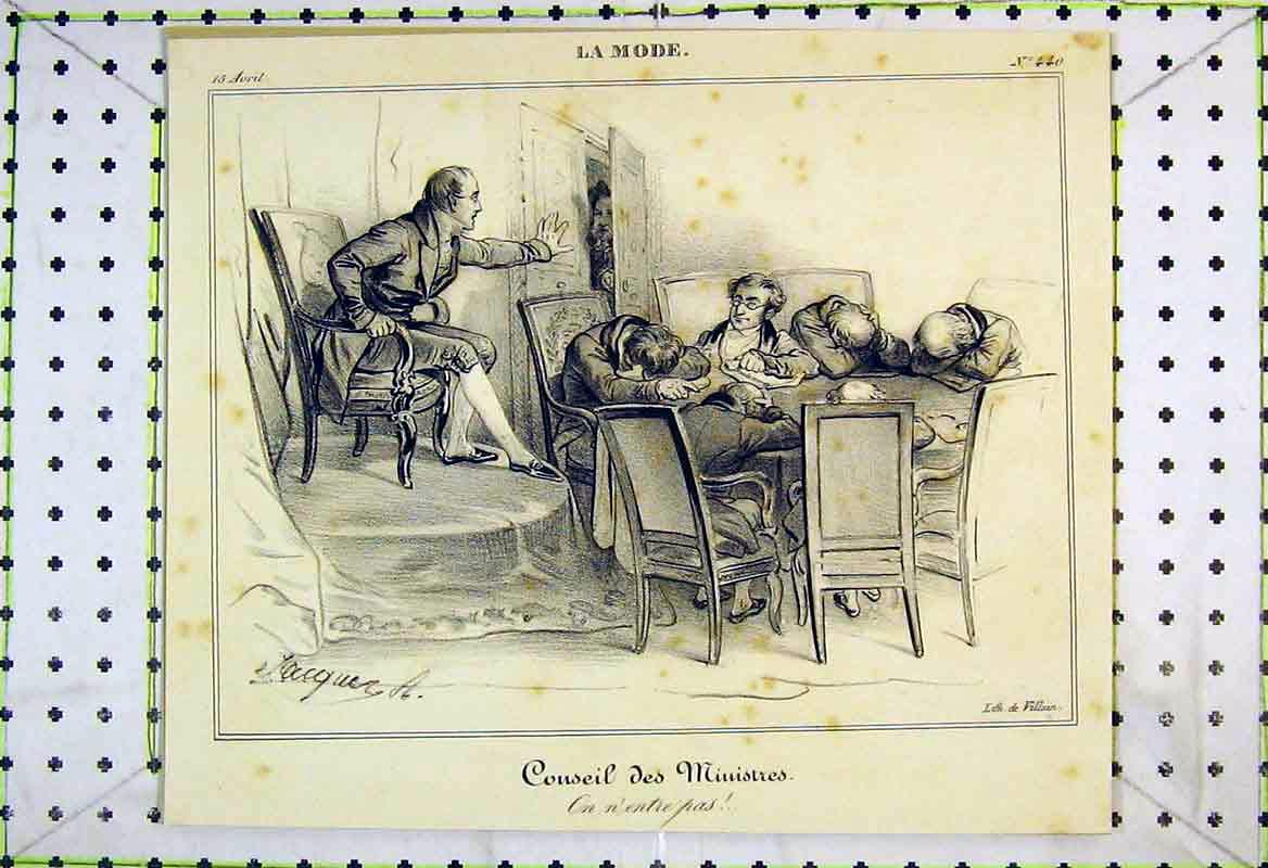 Print French Man Sleeping Table Council Meeting 205B370 Old Original