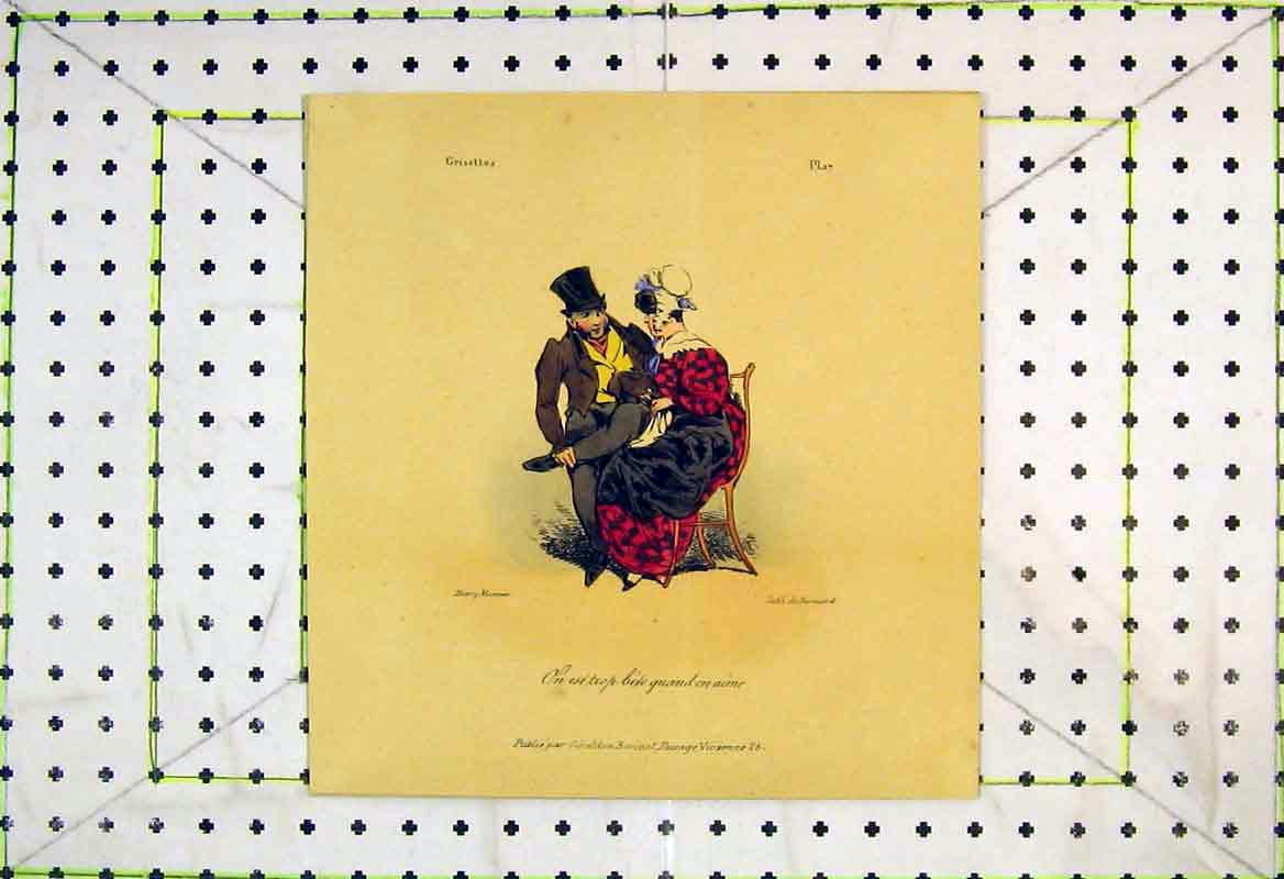 Print French Man Woman Chair Romantic Scene 214B370 Old Original