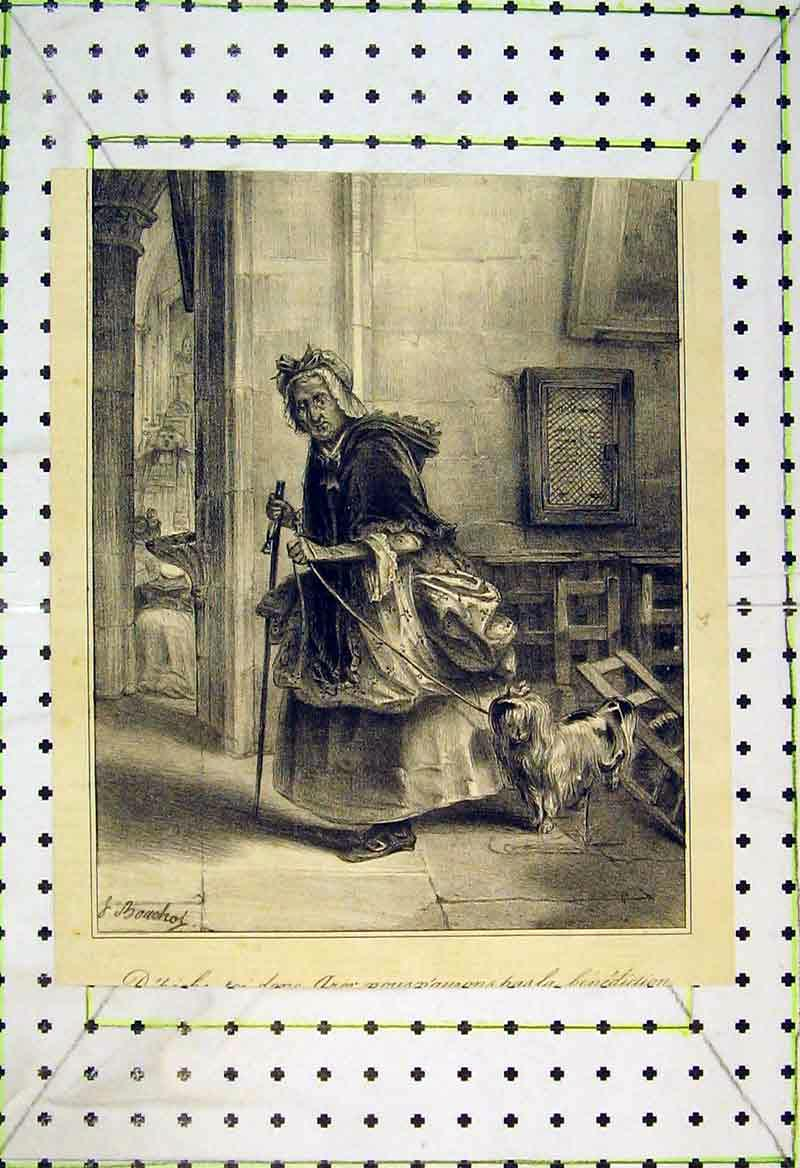 Print French Woman Leading Dog House 234B370 Old Original