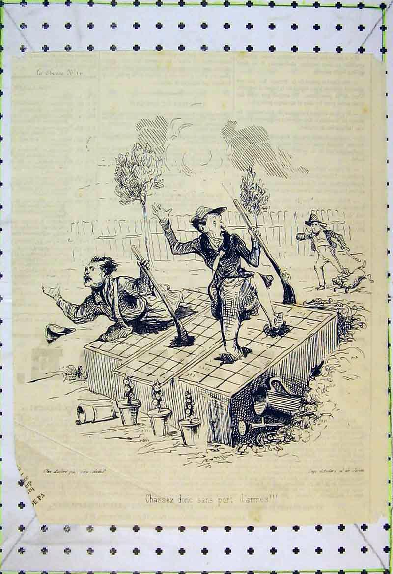 Print French Comedy Men Gun Shooting Hunting 239B370 Old Original