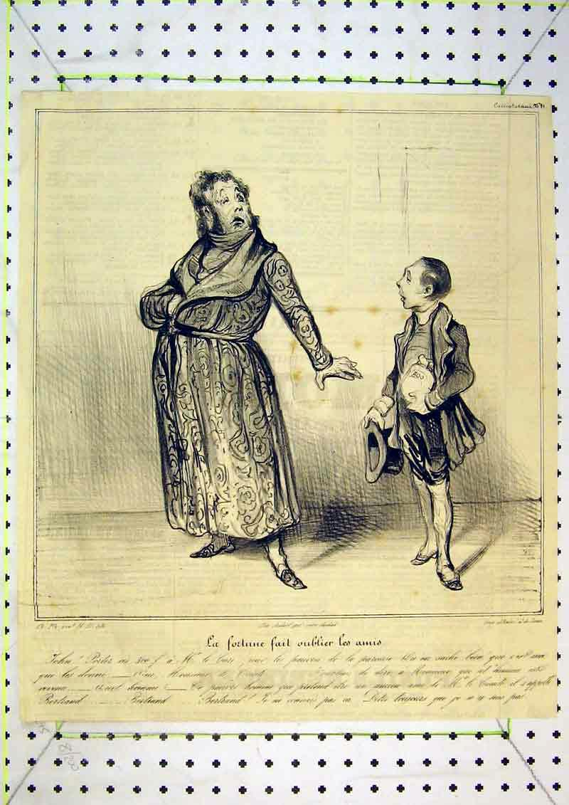 Print French Satirical Theatre Man Boy 407B371 Old Original