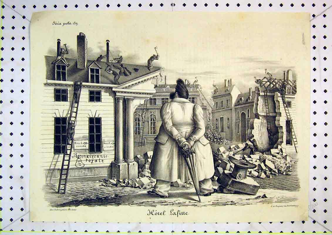 Print French Man Working Roruins Building 414B371 Old Original