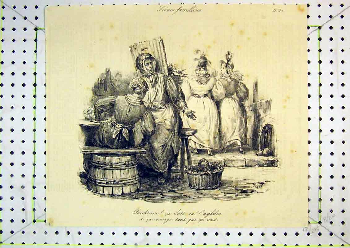 Print French Comedy Women Working Basket Fruit Hats 416B371 Old Original