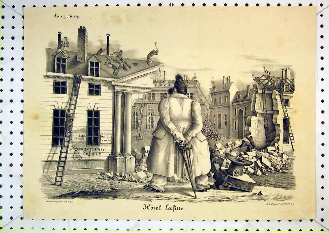 Print French Comedy Satirical Men Collapsed Buildings 422B371 Old Original