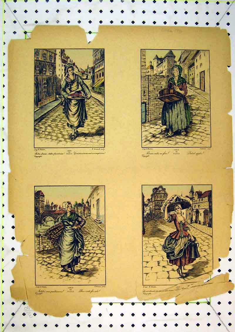 Print French Colour Women Street Sellers Lady Houses 434B371 Old Original