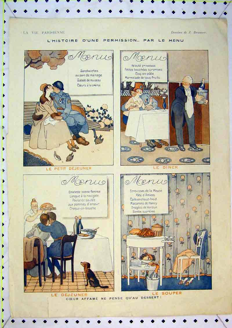 Print French Colour Man Woman Romance Dinner Hotel 435B371 Old Original