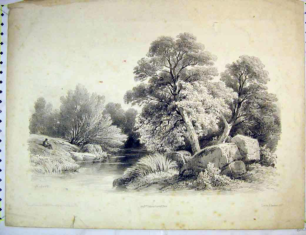 Print French Country Scene Trees River Man Rocks 203B372 Old Original