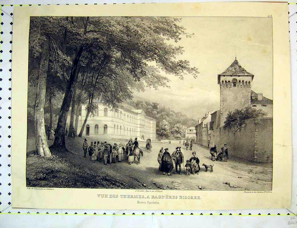 Print French Buildings Stately Home People Dog 208B372 Old Original