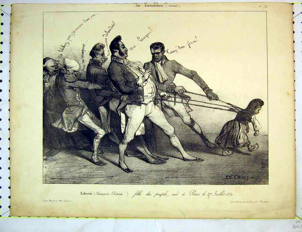 Print French 1830 Men Pulling Little Girl Ropes 214B372 Old Original