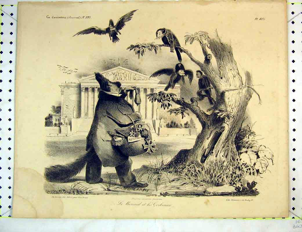 Print French Comedy Fat Man Birds Tree Building Medals 217B372 Old Original