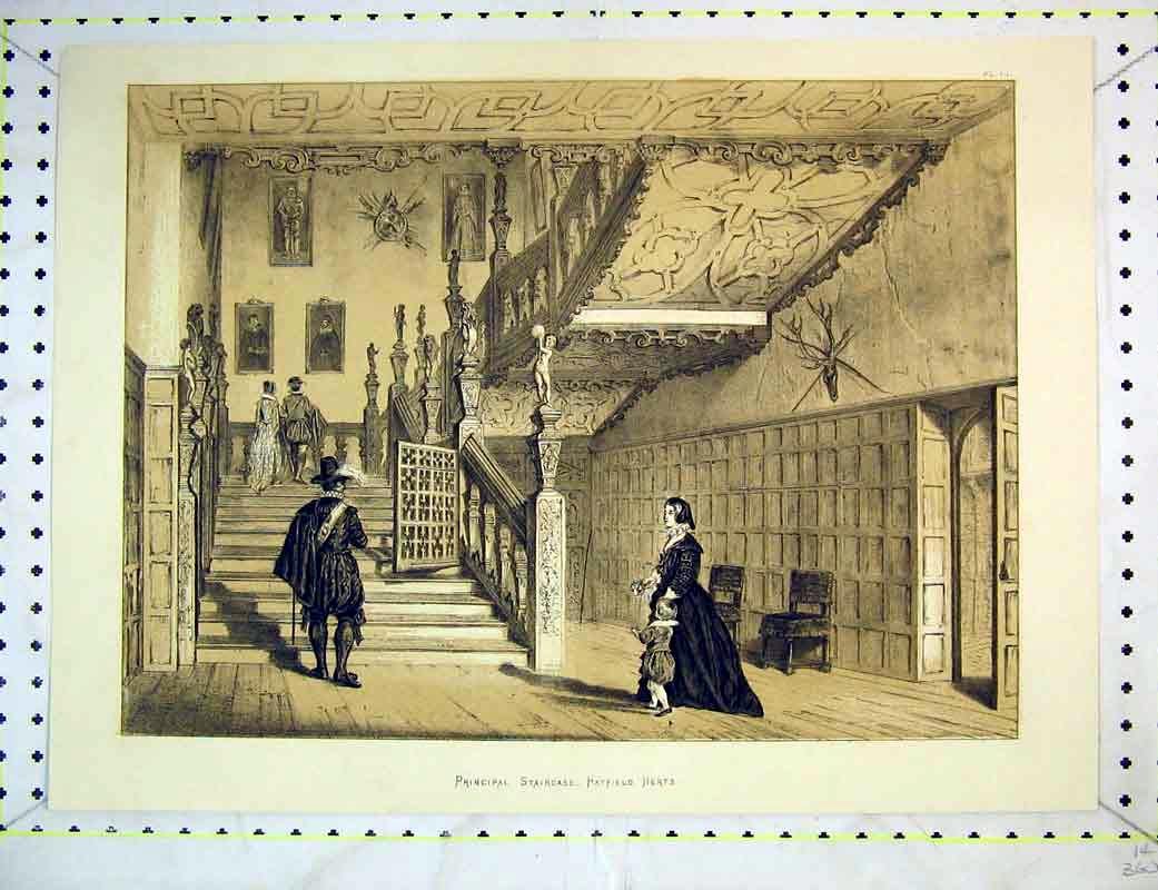 Print Interior View Principal Staircase Hatfield Herts House 234B372 Old Original